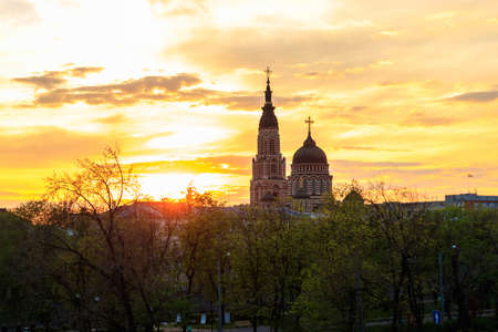 View of Annunciation cathedral at sunset in Kharkov, Ukraine