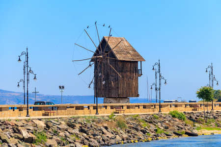 Old wooden windmill in the old town of Nessebar, Bulgaria