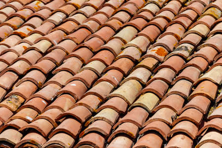 Old tiled roof texture for background