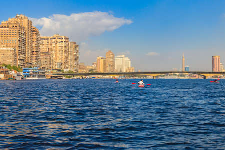 Cairo, Egypt - December 8, 2018: View of Cairo city and the Nile river in Egypt