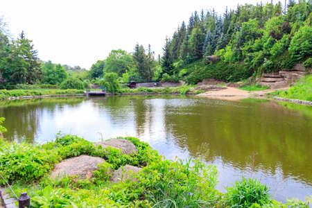 View of pond in Sofiyivka park in Uman, Ukraine