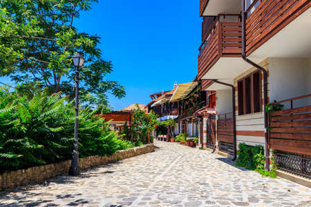 Narrow street of the old town of Nessebar in Bulgaria