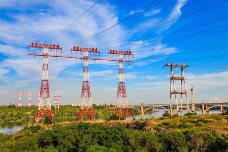 High voltage power line across the Dnieper river on Khortytsia island in Zaporizhia, Ukraine