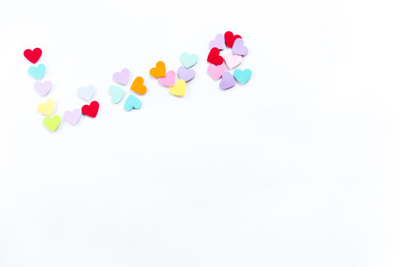 spelled: Ward Love spelled with colorful paper hearts