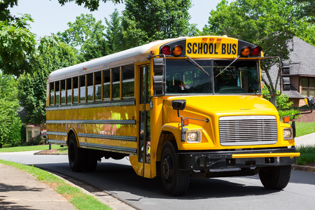 public schools: School bus on a street