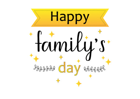 HAPPY FAMILY-the inscription about the foster care. Handwritten lettering design. Vetores