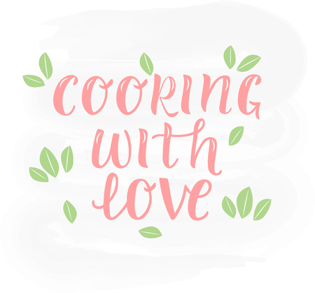 COOKING WITH LOVE-cooking quote hand drawn lettering element your design. Perfect for advertising, poster, card, invitation, banner, menu, lettering typography.