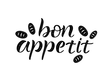 BON APPETIT- cooking quote hand drawn lettering element your design. Perfect for advertising, poster, card, invitation, banner, menu, lettering typography.