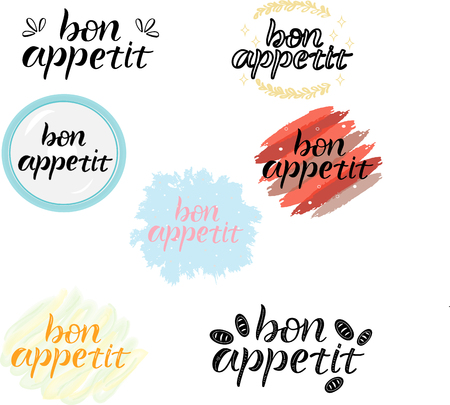 BON APPETIT SET- cooking quote hand drawn lettering element your design. Perfect for advertising, poster, card, invitation, banner, menu, lettering typography.Vector illustration EPS 10
