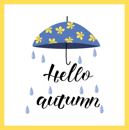 Hand drawn HELLO AUTUMN- Loyout design with blue rubber boots and umbrella.Celebration quotation for card, postcard, event icon.