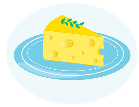 Piece of cheese on a blue plate. Isolated on blue background. Flat icon. Vector illustrator EPS 10