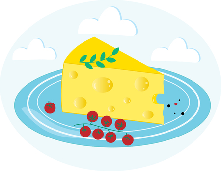 Piece of cheese on a blue plate with cherry tomatoes. Isolated on blue background with clouds. Flat icon. Vector illustrator EPS 10