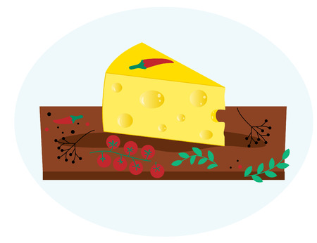 cheese on wooden board with vegetables, spice. Isolated on blue background. Flat icon. Vector illustrator EPS 10