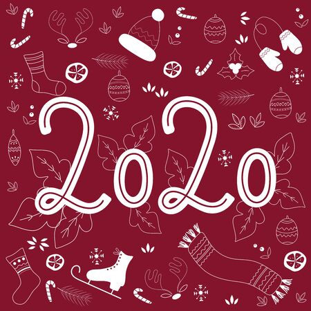 2020 New Year poster. White Numbers 2020 on burgundy background with hand drawn decorations. Perfect for postcard, card, invitation, banner, flyer. Vector illustration  Illusztráció