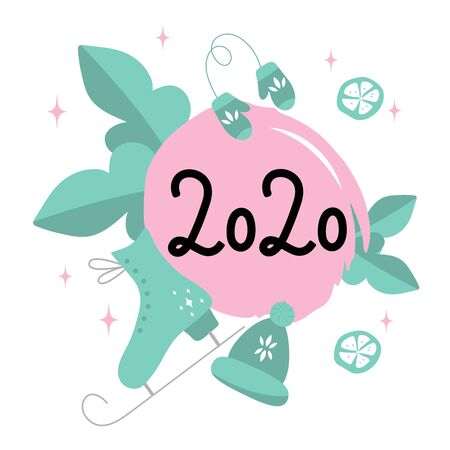 2020 vision. Black Numbers 2020 on a pink round spot with mint leaves, skates, hat and mittens on white background. Perfect for poster, postcard, card, invitation, banner, flyer. Vector illustration