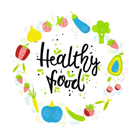 CIBO SANO disegnato a mano. Verdure e frutta su sfondo bianco con scritte nere. Il concetto di design di cibo sano, vegetariano, yoga.