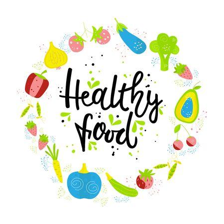 Handgezeichnete GESUNDE LEBENSMITTEL. Gemüse und Früchte auf weißem Hintergrund mit schwarzer Beschriftung. Das Designkonzept von gesundem Essen, Vegetarier, Yoga.