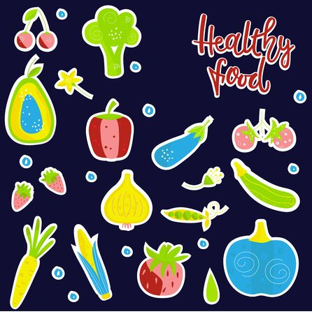 Fashion patch badges HEALTHY FOOD. Vegetables and fruits set on white background. The design concept of healthy food, vegetarian, yoga. Ilustração