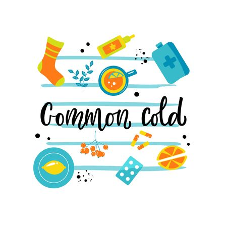 Handwritten COMMON COLD with various means and mediciness. Bright illustration. Vector illustration in flat cartoon style. 일러스트