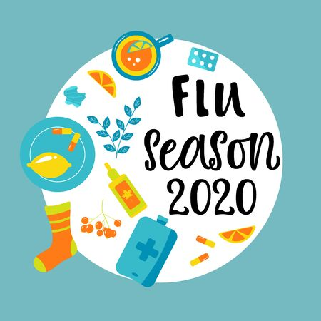 Handwritten FLU SEASON 2020 with various means and medicines. Bright illustration. Vector illustration in flat cartoon style. 일러스트