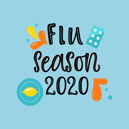 Handwritten FLU SEASON 2020 with various means and mediciness on blue background. Vector illustration in flat cartoon style.