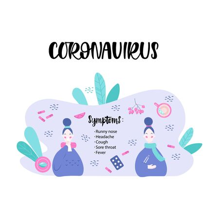 Handwritten CORONAVIRUS SYMPTOMS, two young women on the background treatment of various means and medicines, symptoms. Vector illustration in flat cartoon style.