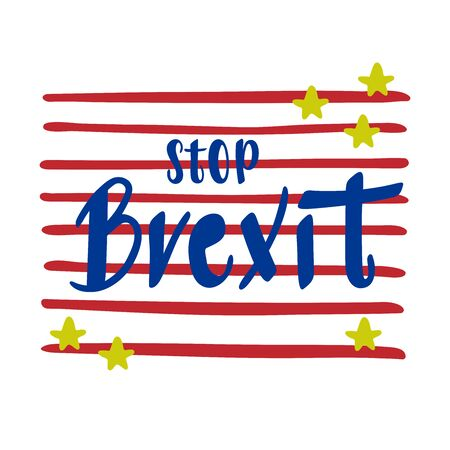 STOP BREXIT vector political icon sticker. Blue lettering with yellow stars on striped red background.