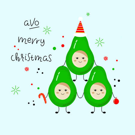 Holiday humorous slogan hand drawn vector illustration. Avo Merry Christmas lettering with avocado. New year bright poster. Perfect for poster, postcard, card, invitation, banner, flyer.  イラスト・ベクター素材