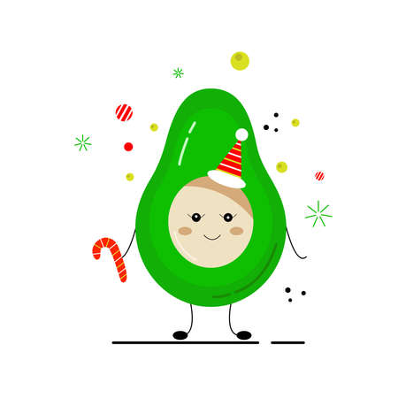 New Year avocado. Holiday humorous hand drawn vector illustration. New year bright poster. Perfect for poster, postcard, card, invitation, banner, flyer.  イラスト・ベクター素材