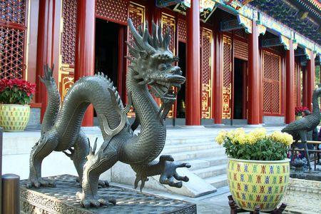 draak in het keizerlijk paleis in Peking, China Stockfoto