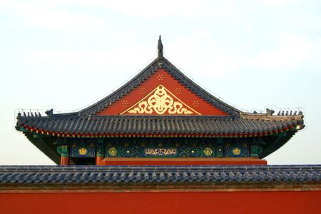 Roof in the Temple of Heaven in Beijing. China