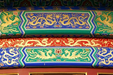 Architectonische details in de Tempel van de Hemel complex, Peking. Stockfoto