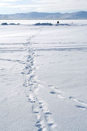 Traces on snow. Winter landscape. Fishing