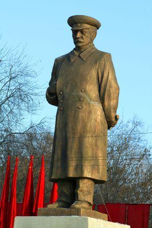 Monument Stalin. Close-up op een achtergrond van sky