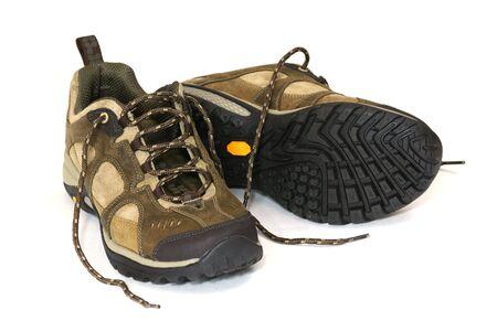 hillwalking: Hiking boots isolated on white background Stock Photo