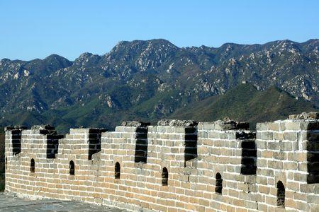 jinshaling: Great Wall of China on mountain backgroung