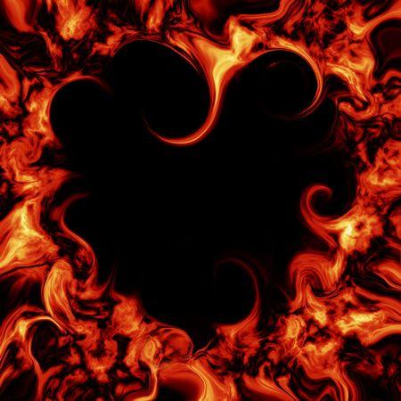 Flame in de vorm van hart branden Stockfoto