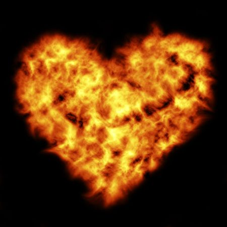 Burning flame in the form of heart