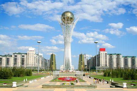 Bayterek Torre en Astana. símbolo de la República de Kazajstán  Foto de archivo
