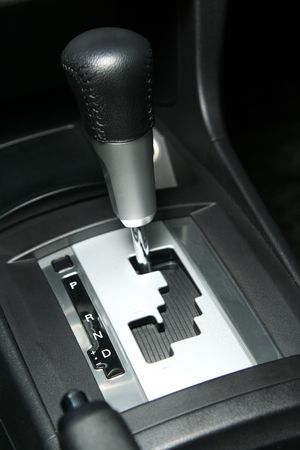 manual shift gear lever in car