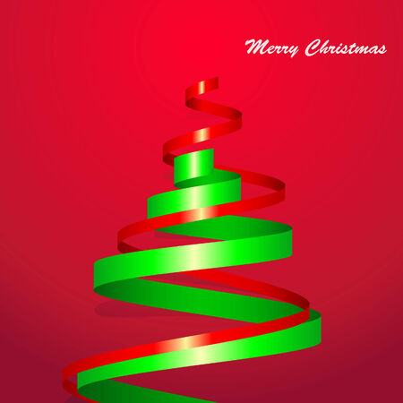year curve: Christmas tree card Green and red ribbon on red background Illustration