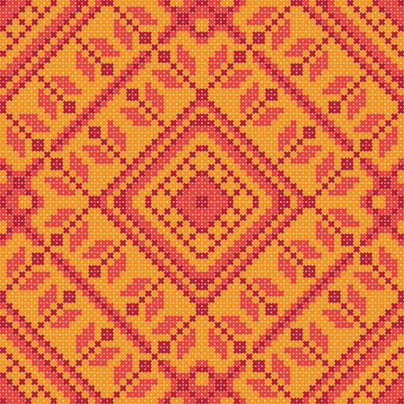 cross stitch: Cross stitch ornament seamless background