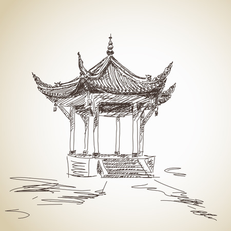 pavilion: Hand drawn chinese pavilion