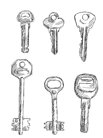 openly: Hand drawn set of keys Vector