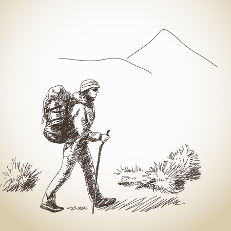 Vector woman trekking with backpack Hand drawn