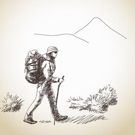 Vector Mujer senderismo con mochila Dibujado a mano