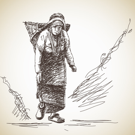 Nepalese woman carries a basket on her head in the traditional way. Hand drawn illustration Illustration