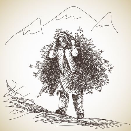 carries: Nepalese woman carries a tree branches on her head in the traditional way. Hand drawn illustration
