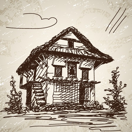 bung: Nepali traditional house. Hand drawn illustration