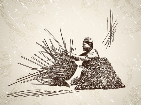 Man weaves a basket of bamboo. Hand drawn illustration Ilustracja